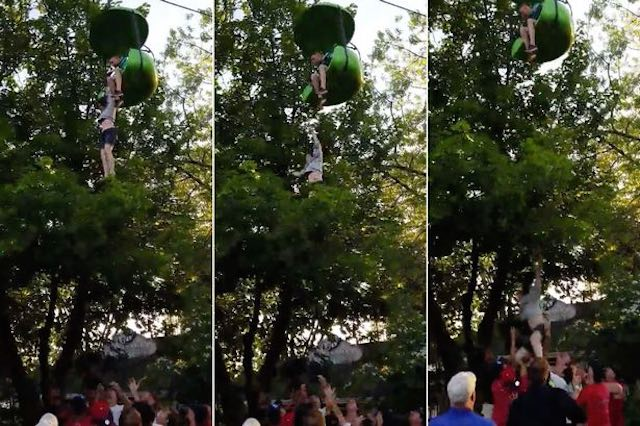 Girl Falls From Ride, Drops Into Crowd (Video)