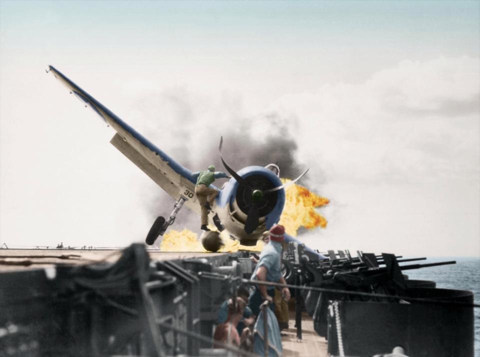 Colourised images WWII reveal pilots' horrors with explosions, crashes and bombs