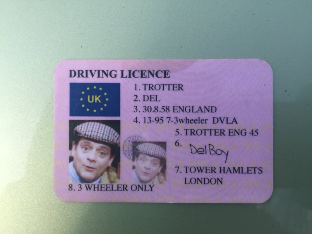 A fake Del Boy driving licence won't get you out of trouble, Report