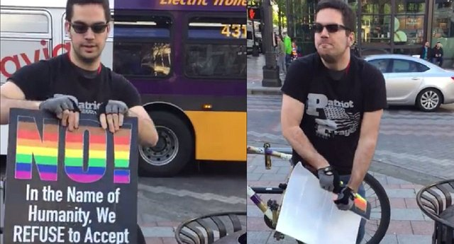 Far-Right Supporter Fails To Tear LGBT Sign (Watch)