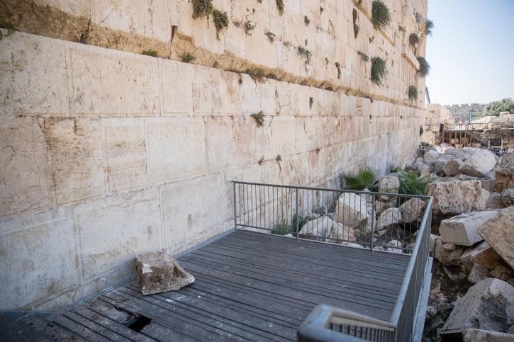 Western Wall stone falls, misses woman (Video)