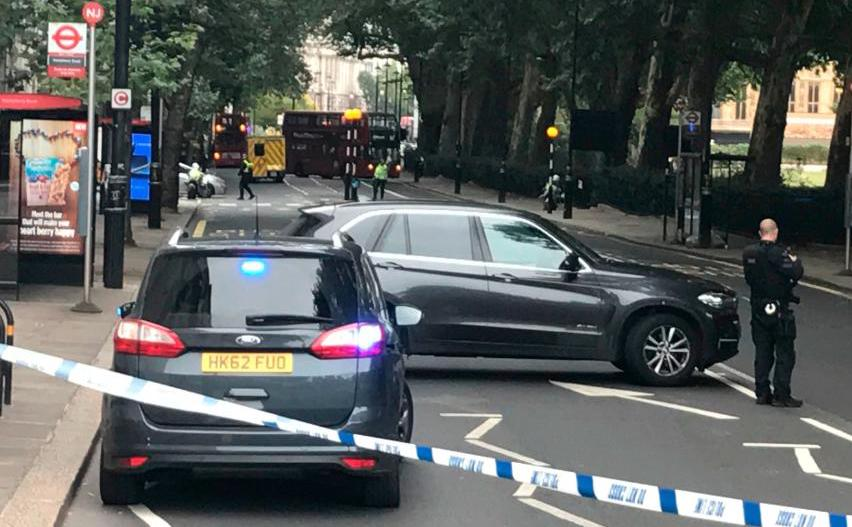 Car crashes into UK houses of parliament barrier