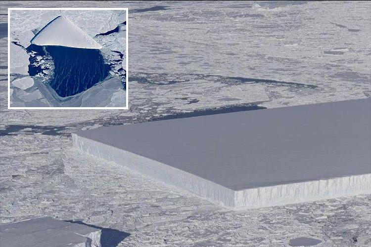 Rectangular iceberg looks totally out of place in Antarctica